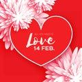 Heart. Flower paper. Happy Valentine`s day