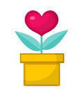 Heart flower pot icon, flat design. Isolated on white background.