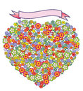 Heart of flowers with blank banner a shape filled many small a pink for copy Stock Photography