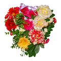 Heart of flowers floral with multicolor isolated on white background Stock Photo