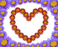 Heart of flowers and frame made abstract Royalty Free Stock Photography