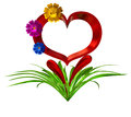 Heart with flowers and leaves in as a symbol of love Stock Images