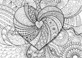 Heart on flowers zendoodle design for adult coloring book page. Stock Vector