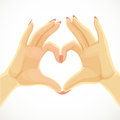 Heart folded of beautiful female hands isolated on white background Royalty Free Stock Photography