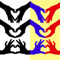 Heart folded hands colored contours of the hand Stock Image
