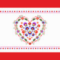 Heart folk embroidery valentine card Stock Images