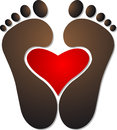 Heart footprint logo Stock Images