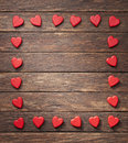 Heart frame background a of shapes on a rustic wood Royalty Free Stock Photo