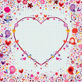 Heart frame with birds and flowers design element Stock Photos