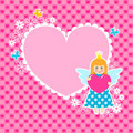 Heart frame with cute princess Royalty Free Stock Image