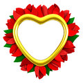 Heart frame with red flowers, 3d