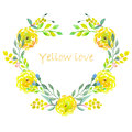 Heart frame of watercolor yellow flowers