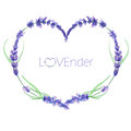 A heart frame, wreath, frame border with the watercolor lavender flowers, wedding invitation Royalty Free Stock Photo
