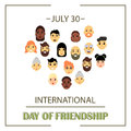 The heart of friends of different genders and nationalities as a symbol of International Friendship day.