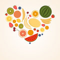 Heart from fruit isolated vector illustration eat more fruits card inspiration message healthy lifestyle poster Stock Photography