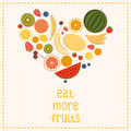 Heart from fruit isolated vector illustration eat more fruits card inspiration message healthy lifestyle poster Stock Images