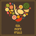 Heart from fruit isolated vector illustration eat more fruits card inspiration message healthy lifestyle poster Royalty Free Stock Photo
