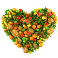Heart of fruits. Stock Photo