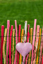 Heart on garden fence a colorful Royalty Free Stock Photo