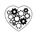 Heart with gears inside vector illustration Stock Photography