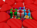 Heart and gift box for celebrations Royalty Free Stock Photos