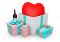 Heart on giftbox Royalty Free Stock Photo