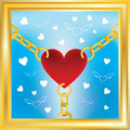 Heart in golden chains Royalty Free Stock Photo