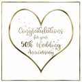 Heart Golden Wedding Anniversary Card Royalty Free Stock Photo