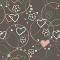 Heart graphic doodle brown color seamless pattern illustration vector