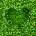 Heart on green grass texture vector background Stock Image