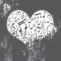 Heart grunge with music inside Royalty Free Stock Images