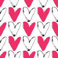 Heart grunge seamless pattern on white background. Hand drawn Royalty Free Stock Photo