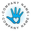 Heart hand logo Royalty Free Stock Photo