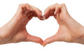 Heart in hand on white background, hand gesture, s Royalty Free Stock Images