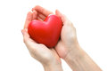 Heart in the hands isolated red on white background Royalty Free Stock Photography