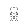 Heart with hands line icon, healtcare sign