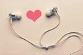 Heart and headphones Royalty Free Stock Photo