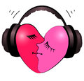 Heart with headphones Royalty Free Stock Photo
