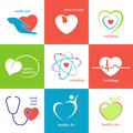 Heart health care icons set of and emblems with symbol for medicine and cardiology Royalty Free Stock Image