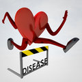 Heart health figure jump over disease Stock Photo