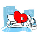 Heart health room watching tv illustration cartoon Royalty Free Stock Photography