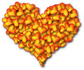 Heart of hearts orange big assembled from small Stock Photos
