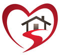 Heart house logo a sits inside a shape in this icon Royalty Free Stock Photo