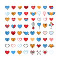 Heart icon big set in flat and line icon style trendy bright modern colors