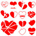 Heart icon collection - broken Stock Photos