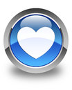 Heart icon glossy blue round button Royalty Free Stock Photo