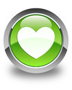 Heart icon glossy green round button Royalty Free Stock Photo