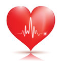 Heart icon glossy red with normal ekg sinus rhythm great for web print or presentation Royalty Free Stock Images