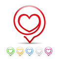 Heart icon icons set six colors Royalty Free Stock Photography