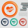 Heart icon on the red, blue, green, orange buttons for your website and design with space text. Royalty Free Stock Photo